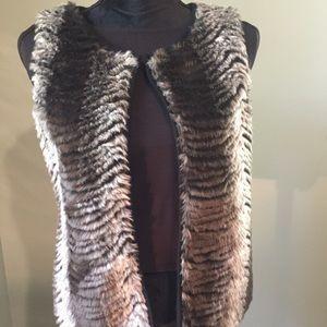 Faux animal print vest